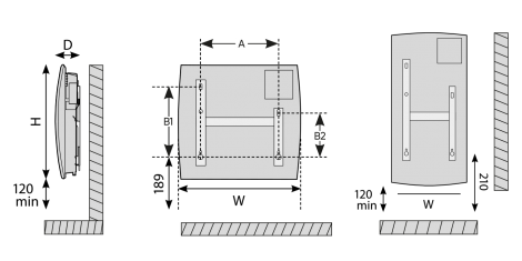 Dimensions for the radiator
