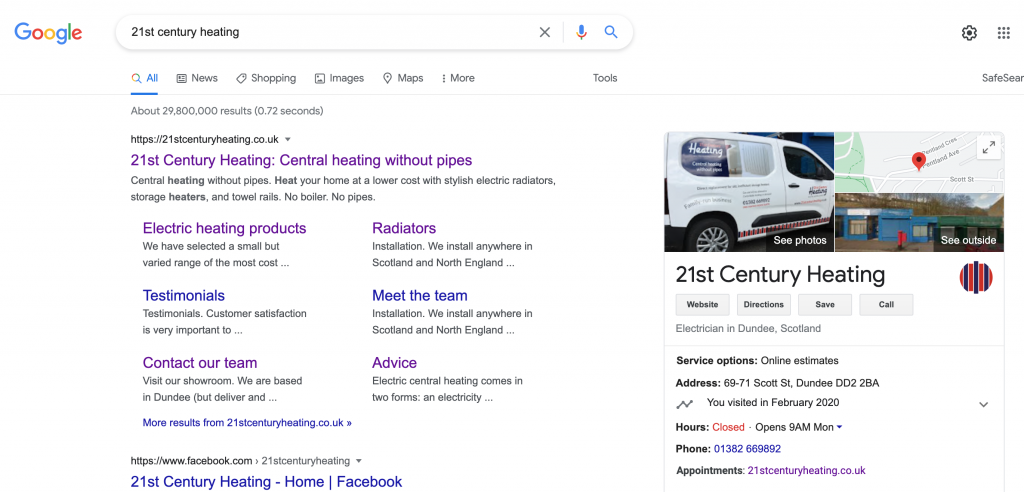 Screenshot of the Google search results for 21st Century Heating